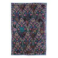 Recycled patchwork wall hanging, 'Palace Trellises' - Recycled Patchwork Floral Wall Hanging in Azure from India