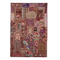 Patchwork wall hanging, 'Kaleidoscope Passion' - Recycled Patchwork Floral Paisley Wall Hanging from India