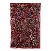 Patchwork wall hanging, 'Russet Paisleys' - Recycled Patchwork Paisley Wall Hanging in Russet from India