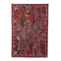 Patchwork wall hanging, 'Russet Tradition' - Russet Recycled Patchwork Paisley Wall Hanging from India