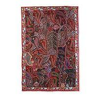 Patchwork wall hanging, 'Terracotta Dream' - Recycled Patchwork Paisley Wall Hanging from India