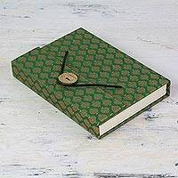 Handmade paper journal, 'Artistic Green' - Green and Gold Brocade Journal of Handmade Unlined Paper