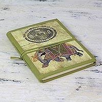 Handmade paper journal, 'Mughal Indian Elephant' - Green Elephant Theme Handmade Paper Journal from India