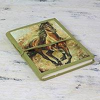 Handmade paper journal, 'Wild Horse Freedom' - Green Wild Horse Theme Handmade Paper Journal from India