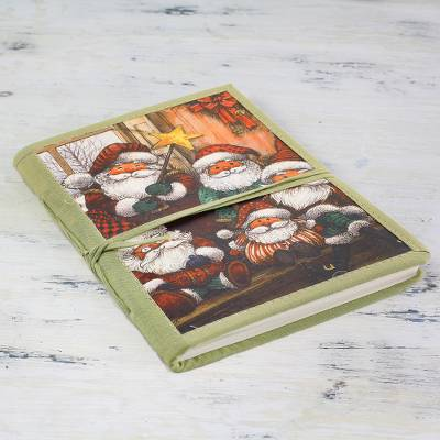 Handmade paper journal, 'Jolly Santas' - Holiday Journal from India with Handmade Paper