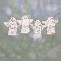 Ceramic ornaments, 'Flying Messengers' (set of 4) - Four Ceramic Angel Ornaments in Gold and White