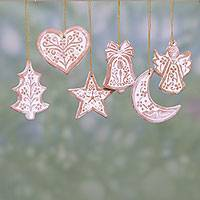 Ceramic ornaments, 'Christmas Union' (set of 6) - Six Handcrafted Ceramic Christmas Ornaments