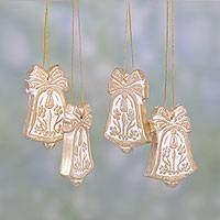 Ceramic ornaments, 'Floral Bells' (set of 4) - Four Ceramic Bell Ornaments in Gold and White
