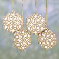 Ceramic ornaments, 'Golden Snowflakes' (set of 4) - Four Ceramic Snowflake Ornaments in Gold