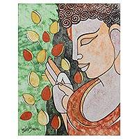 'Peaceful Nature' - India Modern Cubist Painting of a Young Buddha