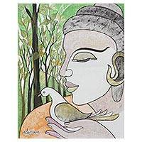 'Messenger of Peace' - Peace Theme Painting of Buddha with a Dove
