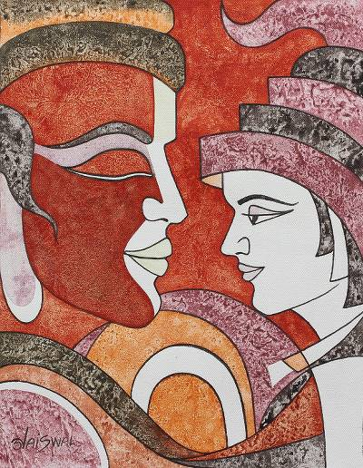 Cubist Painting of a Father and Son from India