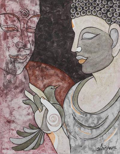 'Peaceful Thoughts' - Earth Tone Cubist Peace Painting of Buddha