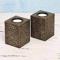 Wood and brass tealight candleholders, 'Golden Paisley Garden' (pair) - 2 Golden Embossed Brass on Wood Tealight Candleholders