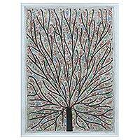 Madhubani painting, 'Tree of Life with Birds' - Multicolored Madhubani Painting of a Tree with Birds