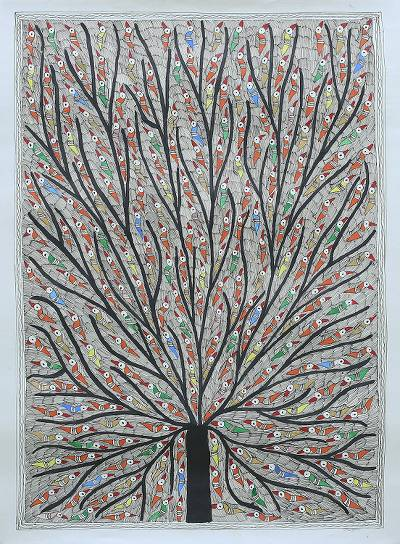 Multicolored Madhubani Painting of a Tree with Birds