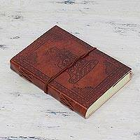 Leather journal, 'Meditating Buddha' - Handcrafted Leather and Cotton Artisan Journal from India