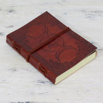 Leather journal, 'Blissful Alliance' - Handcrafted Leather and Cotton Artisan Journal from India