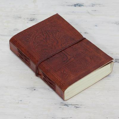 Leather journal, 'Tree of Wisdom' - Embossed 100-Page Unlined Leather Journal Handmade in India