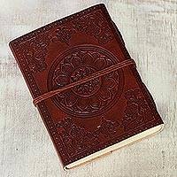Leather journal, 'The Great Om' - Embossed 100-Page Unlined Leather Journal Handmade in India