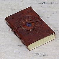 Leather journal, 'Lapis Charm' - Lapis Lazuli 100-Page Leather Journal Handmade in India