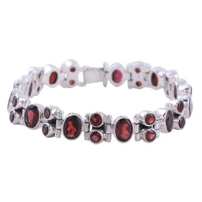 Glam Garnet and Sterling Silver Link Bracelet from India
