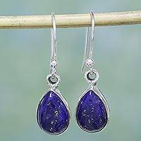Lapis lazuli dangle earrings, 'Be True' - Lapis Lazuli and Sterling Silver Hook Earrings from India