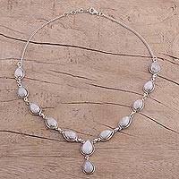 Rainbow moonstone Y-necklace,