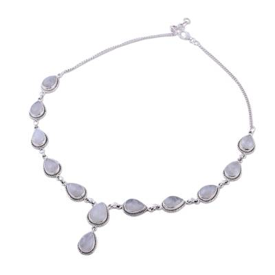 Rainbow Moonstone and Sterling Silver Necklace from India