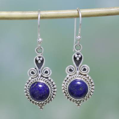 Lapis lazuli dangle earrings, 'Grand Delhi Blue' - 925 Sterling Silver and Lapis Lazuli India Jewelry Earrings