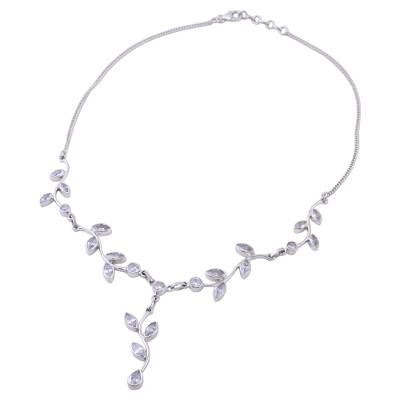 Quartz Garland in Sterling Silver Necklace from India