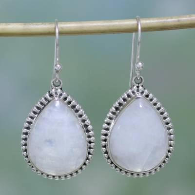 Rainbow moonstone dangle earrings, 'Mystical Charm' - Rainbow Moonstone and Sterling Silver Earrings from India