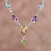 Featured review for Multi-gemstone pendant necklace, Rainbow Bliss