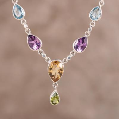 Multi-gemstone pendant necklace, 'Rainbow Bliss' - Rainbow Bliss Sterling Multi-Gemstone Pendant Necklace