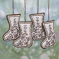 Beaded cotton ornaments,