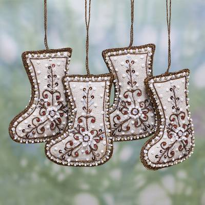 Beaded cotton ornaments, 'Celebration Stockings' (set of 4) - Set of Four Beaded Cotton Stocking Ornaments from India