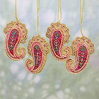 Beaded ornaments, 'Brilliant Paisleys' (set of 4) - Set of Four Beaded Paisley Ornaments from India