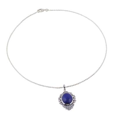 Lapis Lazuli and Sterling Silver Pendant Necklace from India