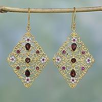 Gold plated garnet and rhodolite dangle earrings,