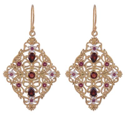 Garnet and Rhodolite Gold Plated Silver Dangle Earrings