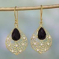 Gold plated onyx dangle earrings, 'Garden of the Night' - Black Onyx and Cubic Zirconia Dangle Earrings from India