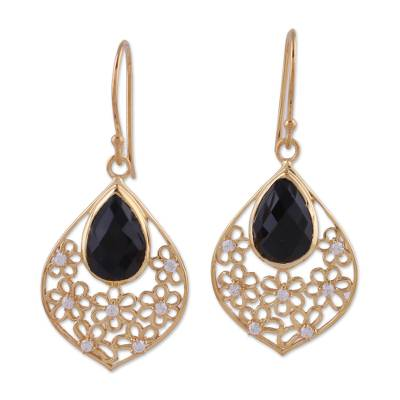 Black Onyx and Cubic Zirconia Dangle Earrings from India