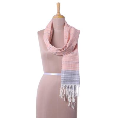 Cotton scarf, 'Shimmering Stripes in Peach' - Peach and Indigo Striped Cotton Scarf from India