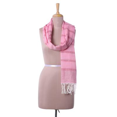 Cotton scarf, 'Lovely Pink' - Hand Woven Pink Striped Cotton Wrap Scarf from India