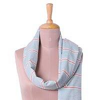Cotton scarf, 'Shimmering Stripes in Ruby' - Teal and Red Striped Cotton Wrap Scarf from India