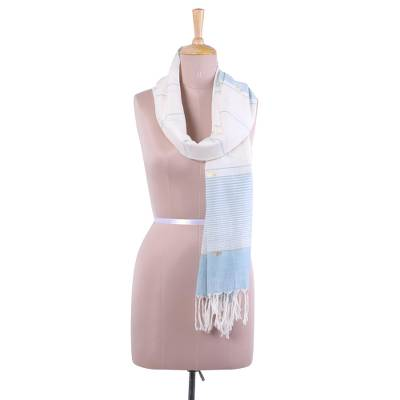 Cotton scarf, 'Sea Stripes' - Hand Woven Peach Cotton Scarf with Blue Stripes from India