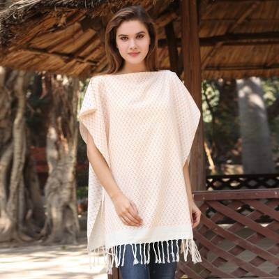 Cotton caftan, 'Beauty of Goa' - Hand Woven 100% Cotton Caftan from India