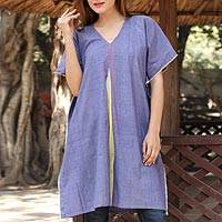 Cotton caftan, 'Cool Water' - Hand Woven Blue Cotton Cover Up from India