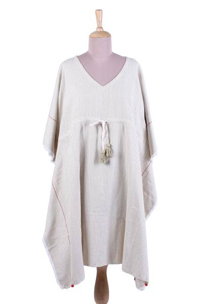 Cotton caftan, 'Dawn to Dusk' - Pale Sage Green and Natural Stripe Cotton Caftan