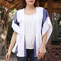 Cotton shrug, 'By the Sea' - Hand Woven Blue and White Striped Cotton Coverup from India